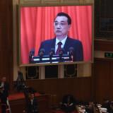 Premierminister Li Keqiang præsenterede tirsdag styrets økonomiske målsætning for 2019 i forbindelse med åbningen af Folkekongressen i Folkets Store Hal i Beijing. Greg Baker/Ritzau Scanpix