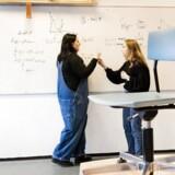 Hvordan var det nu lige, det var? Natalie Munch Kjær og Kira Grethe Bredtved (til venstre) fra Københavns Åbne Gymnasium diskuterer matematik ved tavlen.