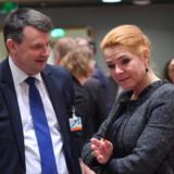 Tor Mikkel Wara og danske Inger Støjberg på et møde i EU. (Arkivfoto) Emmanuel Dunand/Ritzau Scanpix