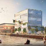 Sådan ser det reviderede forslag til BIGs kommende hovedsæde på Sundholmen i Københavns Nordhavn ud.