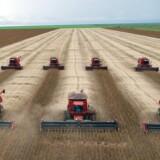 En hær af mejetærskere i færd med at få sojahøsten i hus i Brasilien. Om 40 år kan klodens landbrugsarealer være vokset med over 20 pct., hvilket ikke er bæredygtigt, advarer FN.