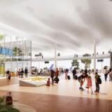 Et bud på, hvordan den nye terminalbygning kommer til at se ud indvendigt. Der kommer til at skulle være 40 millioner passager om året i Københavns Lufthavn på sigt. Illustration: Københavns Lufthavn.