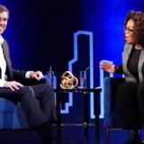 Beto O'Rourke taler med Oprah Winfrey under optagelsen af hendes show på Manhattan, 5. februar 2019.