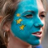 En britisk proeuropæisk kvinde deltager i demonstration mod Brexit i London.