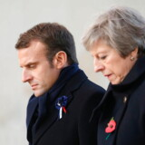 epa07153714 British Prime Minister Theresa May (R) and French President Emmanuel Macron walk near graves at the World War I French-British memorial of Thiepval, northern France, 09 November 2018, during a ceremony marking the 100th anniversary of the end of the WWI. - The memorial commemorates more than 72, 000 men of British and South African forces who died in the Somme sector before 20 March 1918 and have no known grave, the majority of whom died during the Somme offensive of 1916. EPA/LUDOVIC MARIN / POOL MAXXPPP OUT