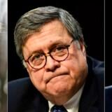 Præsident Trump kan umiddelbart ånde lettet op, efter at den særlige undersøger Robert Mueller (til højre) efter ét år, ti måneder og seks dage har afleveret sin rapport til justitsminister Wiliam Barr (i midten). (Photos by AFP)