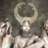 Foto fra Nationalmuseets udstilling om vikinger med fotomontage skabt af Jim Lyngvild.