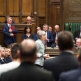 Den britiske premierminister, Theresa May, forsøgte til det sidste at skaffe stemmer for sin aftale om Storbritanniens udtræden af EU. Foto: Ritzau / Scanpix / AFP Mark Duffy (UK Parliament)