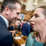 Kristian Jensen (V) og Mette Frederiksen (S) før Folketingets åbning den 2. oktober 2018.