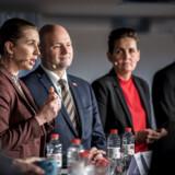 Mette Frederiksen (S), Søren Pape Poulsen (C) og Pia Olsen Dyhr (SF) under debat om sundhed, ældrepleje og værdig tilbagetrækning hos Ældre Sagen 6. februar 2019..