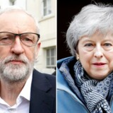 A combo shows opposition Labour party leader Jeremy Corbyn (L) leaving his home and Britain's Prime Minister Theresa May departing Downing Street in London on April 3, 2019. - Prime Minister Theresa May was to meet today with the leader of Britain's main opposition party in a bid to thrash out a Brexit compromise just days before a deadline to leave the EU. (Photo by ISABEL INFANTES / AFP)
