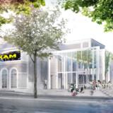 Det ombyggede Aveny-T med den 400 kvadratmeter store tilbygning, Væksthuset, som det tager sig ud i skitseforslaget fra Andersen og Sigurdsson Arkitekter. Inden byggeriet sættes i gang, skal der dog først afholdes en arkitektkonkurrence.