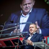 Statsminister Lars Løkke Rasmussen (V) taler under den nye hovedorganisation for lønmodtagere FH - Fagbevægelsens Hovedorganisations konference i KB Hallen på Frederiksberg, 8. april 2019.