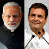 Indiens siddende premierminister, Narendra Modi (t.v.), kan få uventet konkurrence fra Kongrespartiets Rahul Gandhi, når inderne i dag går til stemmeboksene for at sætte deres kryds ved verdens største valg.