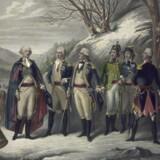George Washington yderst til venstre med sine generaler. Casimir Pulaski ses som nr. fire fra venstre. Kunstner: Frederick Girsch fra midten af 1800-tallet.