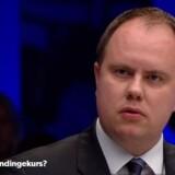 »Undskyld?« udbrød Dansk Folkepartis udlændingeordfører, Martin Henriksen, da han pludselig blev afbrudt midt i en sætning under et direkte program på DR. Foto: Screenshot fra programmet Debatten.