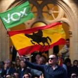 En mand svinger det spanske flag påmalet silhuetten af »El Cid« – en legendarisk figur i middelalderens krige mod maurerne – under et Vox-valgmøde i nordspanske Burgos.