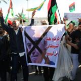 Libyske demonstranter protesterer mod feltmarskal Khalifa Haftars militære offensiv mod Tripoli. Indtil videre har angrebet på hovedstaden, der ledes af en FN-anerkendt regering, stået på i to uger, kostet omkinrg 150 mennesker livet og sendt tusinder på flugt.