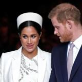 Hertugen og hertuginden af Sussex, Harry og Meghan, forlader Westminster Abbey efter gudstjenesten på Commonwealth Day, 11. marts 2019.