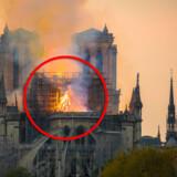 Skotske Lesley Rowan kan se omridset af Jesus mellem flammer og stillads på den over 800 år gamle katedral. Flere på de sociale medier slutter sig til hende.
