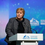 epa07494143 Norway's Prime Minister Erna Solberg speaks during a plenary session of the International Arctic Forum in Saint Petersburg, Russia, 09 April 2019. The International Arctic Forum 2019 takes place from 09 to 10 April. The forum is a key platform for discussing various issues of development of Arctic regions and mechanisms for joint discovery and effective exploitation of Arctic natural resources. EPA/ANATOLY MALTSEV