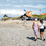 Stranden ved Solnedgangspladsen i Gammel Skagen, 9. juli 2018. Sidste sommers rekordvarme vejr giver håb om gentagelse.