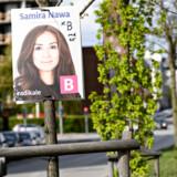 Valgplakater for folketingskandidat for Radikale Venstre Samira Nawa hænger allerede i lygtepæle og træer på Jagtvej på Nørrebro i København søndag den 5. maj 2019.