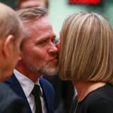 EUs »udenrigsminister« Federica Mogherini og udenrigsminister Anders Samuelsen mødes i Bruxelles. EPA/STEPHANIE LECOCQ