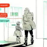 »Hvordan ser fremtidens bank så ud?« spøger Preben Mejer. Tegning: Rasmus Meisler