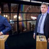 Anders Samuelsen og Rasmus Paludan efter partileder debat hos TV2 på Hovedbanegården i København, tirsdag den 7. maj 2019.