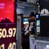 Aktiemarkederne har den seneste uges tid set rødt, efter Trump optrappede handelskonflikten med Kina. Foto: Drew Angerer/Getty Images/AFP/Ritzau Scanpix