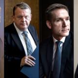 Anders Samuelsen (LA) , Lars Løkke Rasmussen (V), Kristian Thulesen Dahl (DF) og Søren Pape Poulsen (K).