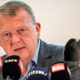 Lars Løkke Rasmussen på pressemødet, hvor han fortalte om sin nye bog, »Befrielsesns øjeblik«. Han har sjældent stået mere alene i dansk politik.