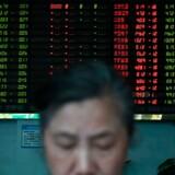Det er et mudret billede for aktier i dag. Kinesiske aktier falder, mens det går fremad i Australien, Indien og amerikanske futures. Foto: Hector Retamal/AFP/Ritzau Scanpix