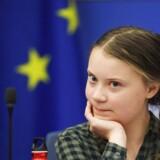 Den svenske klimaaktivist Greta Thunberg under et besøg i Europa-Parlamentet. Forud for valget til Europa-Parlamentet peger danske vælgere på klima som valgets vigtigste tema. Lørdag taler Greta Thunberg for første gang i Danmark. (Foto: FREDERICK FLORIN/Ritzau Scanpix)
