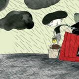 Illustration af Lillian Brøgger fra Kim Fupz Aakesons bog »Det hus som Jack (og Melissa) byggede«, hvor verden er ved at regne væk.