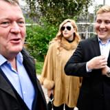 Statsminister Lars Løkke Rasmussen sammen med sin svigerdatter, Aran Katarina Kirschenmann, og sønnen Bergur Løkke Rasmussen, efter at de søndag satte deres kryds til EP-valget. Nu gælder det folketingsvalgkampen for Løkke.