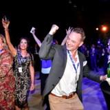 Sverigedemokraterna jubler over den markante fremgang (EPA/Johan Nilsson SWEDEN OUT)