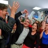 De tyske Grønne – med jublende topkandidat Sven Giegold i midten af billedet – og deres partifæller i resten af Europa var blandt de store vindere ved søndagens valg til Europa-Parlamentet. For første gang kan gruppen – sammen med de liberale (ALDE) – nu indtage en »kongemagerrolle« i det nye Europa-Parlament.