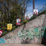 Valgplakater på Østerbro for eksempelvis Pia Olsen Dyhr fra SF, Jacob Thiemann fra Socialdemokatiet og Mette Annelie Rasmussen fra Radikale.