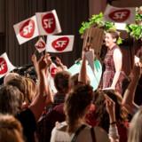 Pia Olsen Dyhr taler til SFs valgfest.