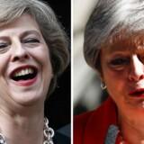 Før og efter. Theresa May fotograferet på sin første embedsdag 13. juli 2016. Og – til højre – ved sin tårevædede exit 24. maj, hvor hun meddelte, at hun 7. juni ville træde tilbage som konservativ partiformand.