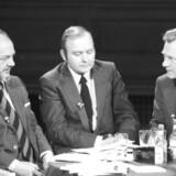 Når Mette Frederiksen fører forhandlinger om en ny regering, er der læring at hente i den politiske danmarkshistorie. Her en valgaften i 1981 med Anker Jørgensen (Socialdemokratiet), Henning Christophersen (Venstre) og Poul Schlüter (Det Konservative Folkeparti).