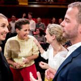 Rød bloks partiledere Mette Frederiksen, Pia Olsen Dyhr, Pernille Skipper og Morten Østergaard under partilederrunden i DR Byen i København to dage før valget.