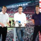 Peter Møller, direktør i DBU præsentere Kasper Hjulmand som ny landstræner og Morten Wieghorst som ny ass. landstræner i DBUs hovedkvarter i Brøndby, onsdag den 12. juni 2019. . (Foto: Tariq Mikkel Khan/Ritzau Scanpix)