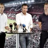 Peter Møller, fodbolddirektør i DBU, præsenterer Kasper Hjulmand som kommende ny landstræner og Morten Wieghorst som assistenttræner i DBUs hovedkvarter i Brøndby.