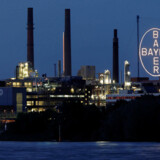 """FILE PHOTO: The so-called """"Chempark"""", the main plant and headquarters of German pharmaceutical and chemical maker Bayer AG is pictured along western Europe's most important waterway in Leverkusen, Germany, May 14, 2019. REUTERS/Wolfgang Rattay/File Photo"""