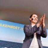 Mette Frederiksen fra Socialdemokratiet holder partiledertale på Hovedscenen i Allinge på Bornholm under Folkemødet 2019, fredag den 14. juni 2019.. (Foto: Mads Claus Rasmussen/Ritzau Scanpix)