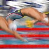 Svømmere fra mændenes 4 x 100 meter medley under EM i Glasgow i august 2018.