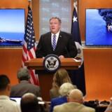 USAs udenrigsminister, Mike Pompeo, på en pressekonference om situationen i Omanbugten.